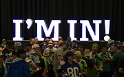 """Aug 25, 2017; Seattle, WA, USA; Seattle Seahawks fans arrive with the """"I'm In"""" sign as a backdrop during a NFL football game between the Seattle Seahawks and the Kansas City Chiefs at CenturyLink Field."""