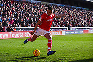 Jacob Brown of Barnsley (33) crosses the ball during the EFL Sky Bet League 1 match between Barnsley and Wycombe Wanderers at Oakwell, Barnsley, England on 16 February 2019.