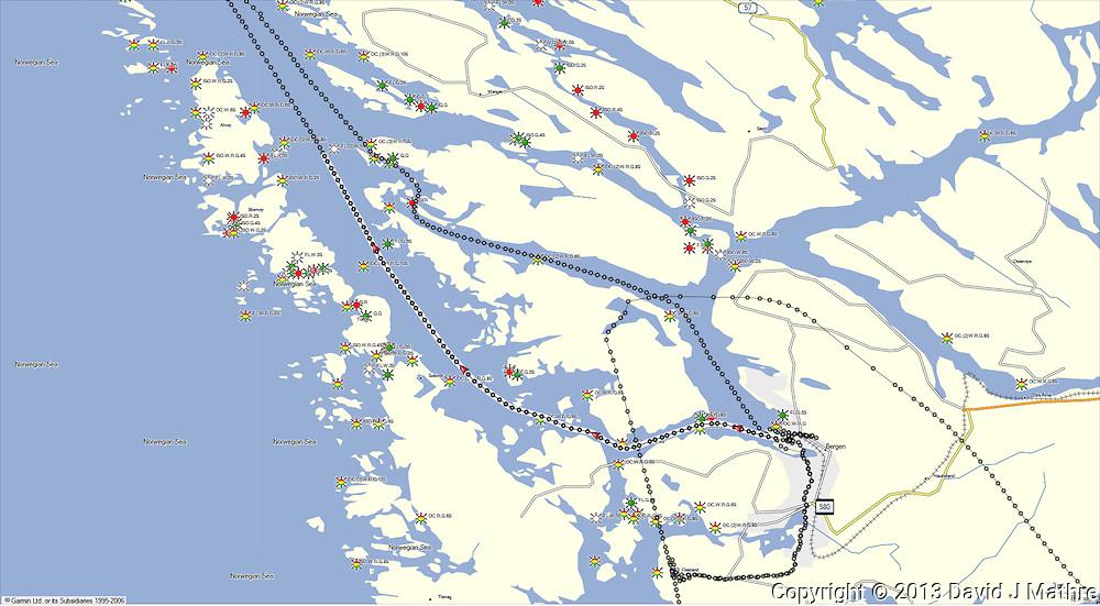 GPS Track: Northbound Hurtigruten M/V Nordkapp Day 1 (23.6 miles)