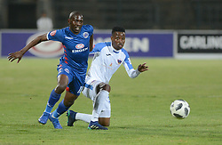 29/08/2018. Aubrey Modiba Supersport United FC tfights for the ball with Thamsanqa Sangweni of Chippa United FC during their PSL match at Lucas Morepe stadium in Atteridgeville.<br /> Picture: Oupa Mokoena/African News Agency (ANA)