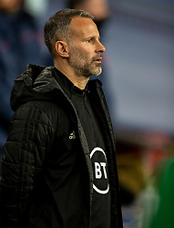 LONDON, ENGLAND - Thursday, October 8, 2020: Wales' manager Ryan Giggs lines-up for the national anthem before the International Friendly match between England and Wales at Wembley Stadium. The game was played behind closed doors due to the UK Government's social distancing laws prohibiting supporters from attending events inside stadiums as a result of the Coronavirus Pandemic. England won 3-0. (Pic by David Rawcliffe/Propaganda)