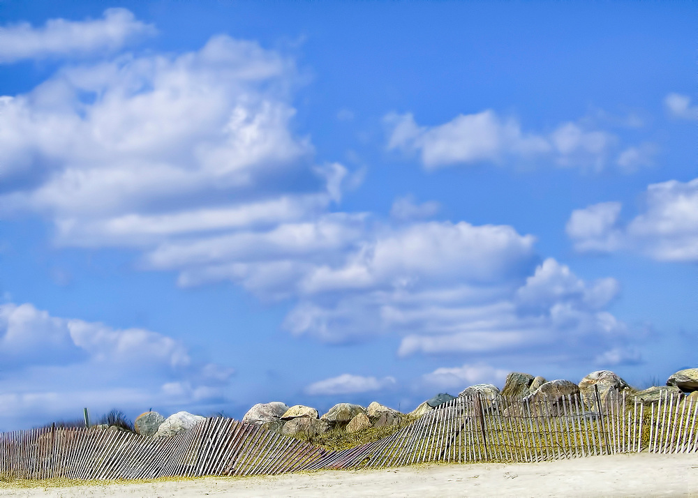 Sunny day at East Beach in Charlestown, Rhode Island. Charlestown and Misquamecut, Rhode Island.