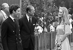 Left to right, HRH THE PRINCE OF WALES, HRH THE DUKE OF EDINBURGH and LADY ROMSEY(then Miss Penelope Eastwood) at polo in July 1975.
