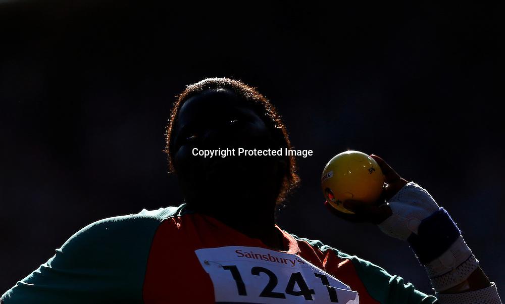 Mary Nakhumicha Zakayo of Kenya competes in Women's Shot Put F57/58 final at Olympic Stadium during the London 2012 Paralympic Games, London, Britain, 08 September 2012.  EPA/KERIM OKTEN