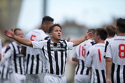 Dunfermline's Josh Falkingham cele after Joe Cardle scored their seventh goal. <br /> Dunfermline 7 v 1 Cowdenbeath, SPFL Ladbrokes League Division One game played 15/8/2015 at East End Park.