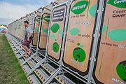Composting toilets. The 2015 Glastonbury Festival, Worthy Farm, Glastonbury.