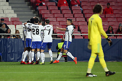 December 5, 2017 - Lisbon, Portugal - Basel's midfielder Mohamed Elyounoussi from Norway celebrates with teammates after scoring during the UEFA Champions League Group A football match between SL Benfica and FC Basel at the Luz stadium in Lisbon, Portugal on December 5, 2017. Photo: Pedro Fiuza (Credit Image: © Pedro Fiuza via ZUMA Wire)