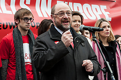 Martin Schulz, the president of the European Parliament talks during European socialists the 'No More Walls in Europe' prostest in Brussels, Belgium on 16.03.2016 Protestors want to show their support for Schengen area before European Summit on migration crisis. EXPA Pictures © 2016, PhotoCredit: EXPA/ Photoshot/ Wiktor Dabkowski<br /> <br /> *****ATTENTION - for AUT, SLO, CRO, SRB, BIH, MAZ, SUI only*****