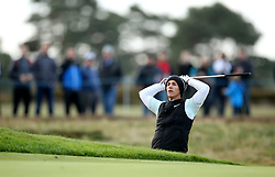 Thorbjorn Olesen reacts during day two of the British Masters at Walton Heath Golf Club, Surrey.