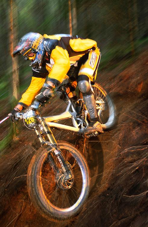 National Downhill racing at Cwmcarn, near Risca, Wales, UK