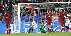 Wissam Ben Jedder of Sevilla Cf has just scored the 2-3 goal on a penaltykick,now in hurry to bring the ball to the center during the UEFA Champions League, Group E, Sevilla v Liverpool football match at Estadio Ramon Sanchez Pizjuan in Sevilla, Spain, November 21, 2017. Photo by Giuliano Bevilacqua/ABACAPRESS.COM