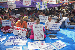 March 23, 2019 - Kolkata, West Bengal, India - 24th day Hunger strike by School Service Commission (SSC) qualified candidates as they demand of immediate joining in state schools, where the selection test happened in 2017, result came out in March 2018 and still their names are in the waiting list. Till now no response from the state government. (Credit Image: © Indranil Aditya/NurPhoto via ZUMA Press)
