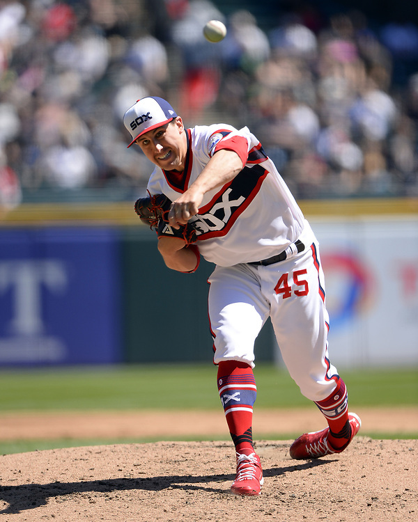 CHICAGO - APRIL 23:  Derek Holland #45 of the Chicago White Sox pitches against the Cleveland Indians on April 23, 2017 at Guaranteed Rate Field in Chicago, Illinois.  The White Sox defeated the Indians 6-2.  (Photo by Ron Vesely)   Subject:  Derek Holland