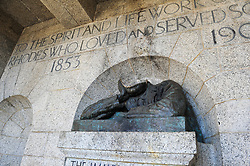"""South Africa - Cape Town - 15 July 2020 - The statue of 19th-century colonialist Cecil John Rhodes at Rhodes Memorial has been beheaded. According to Rey Thakhuli, acting head of communications for the South African National Parks (SANParks): """"The head of the statue was cut from the bust with what seems to be an angle grinder somewhere between Sunday night or the early hours of Monday morning.""""Picture: Henk Kruger/African News Agency(ANA)"""