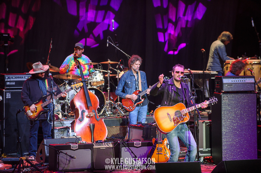 COLUMBIA, MD - May 14, 2015 - Eric Church (front)  performs wight he house band including Don Was, Raymond Weber, and Audley Freed during the Dear Jerry: Celebrating the Music of Jerry Garcia concert at Merriweather Post Pavilion in Columbia, MD. (Photo by Kyle Gustafson / For The Washington Post)
