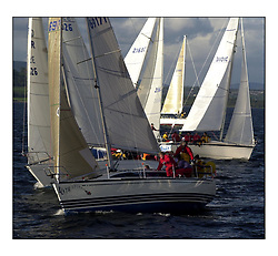 Yachting- The start of the Bell Lawrie Scottish series 2002 at Gourock racing overnight to Tarbert Loch Fyne where racing continues over the weekend.<br /><br />Blyth Spirit - X332 GBR9617T in front of class3<br /><br />Pics Marc Turner / PFM