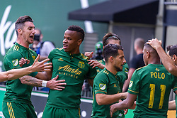 November 4, 2018 - Portland, OR, U.S. - PORTLAND, OR - NOVEMBER 04: Portland Timbers celebrate Jeremy Ebobisse's goal during the Portland Timbers first leg of the MLS Western Conference Semifinals against the Seattle Sounders on November 04, 2018, at Providence Park in Portland, OR. (Photo by Diego Diaz/Icon Sportswire) (Credit Image: © Diego Diaz/Icon SMI via ZUMA Press)