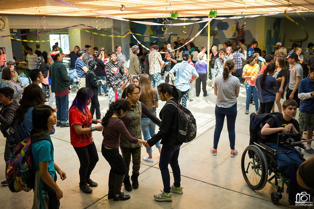 Students dance during the Best Buddies Special Education Dance at Milpitas High School in Milpitas, California, on April 21, 2017. (Stan Olszewski/SOSKIphoto)
