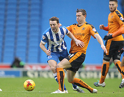 Dale Stephens of Brighton and Hove Albion is challenged by Kevin McDonald of Wolverhampton Wanderers - Mandatory byline: Paul Terry/JMP - 07966 386802 - 01/01/2016 - FOOTBALL - Falmer Stadium - Brighton, England - Brighton v Wolves - Sky Bet Championship