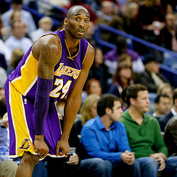 Nov 12, 2014; New Orleans, LA, USA; Los Angeles Lakers guard Kobe Bryant (24) against the New Orleans Pelicans during  a game at the Smoothie King Center. The Pelicans defeated the Lakers 109-102. Mandatory Credit: Derick E. Hingle-USA TODAY Sports