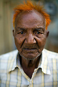 An old man with his hair dyed with henna, Jaipur, India