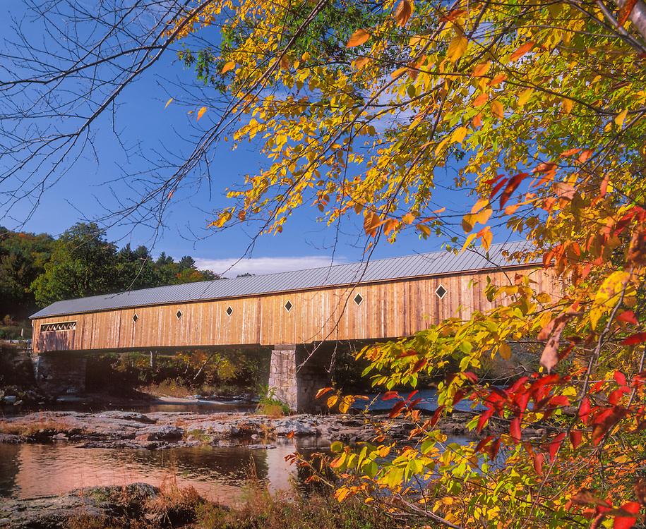 West Dummerston Covered Bridge in fall, West River, longest CB in Vt.280 ft, West Dummerston, VT