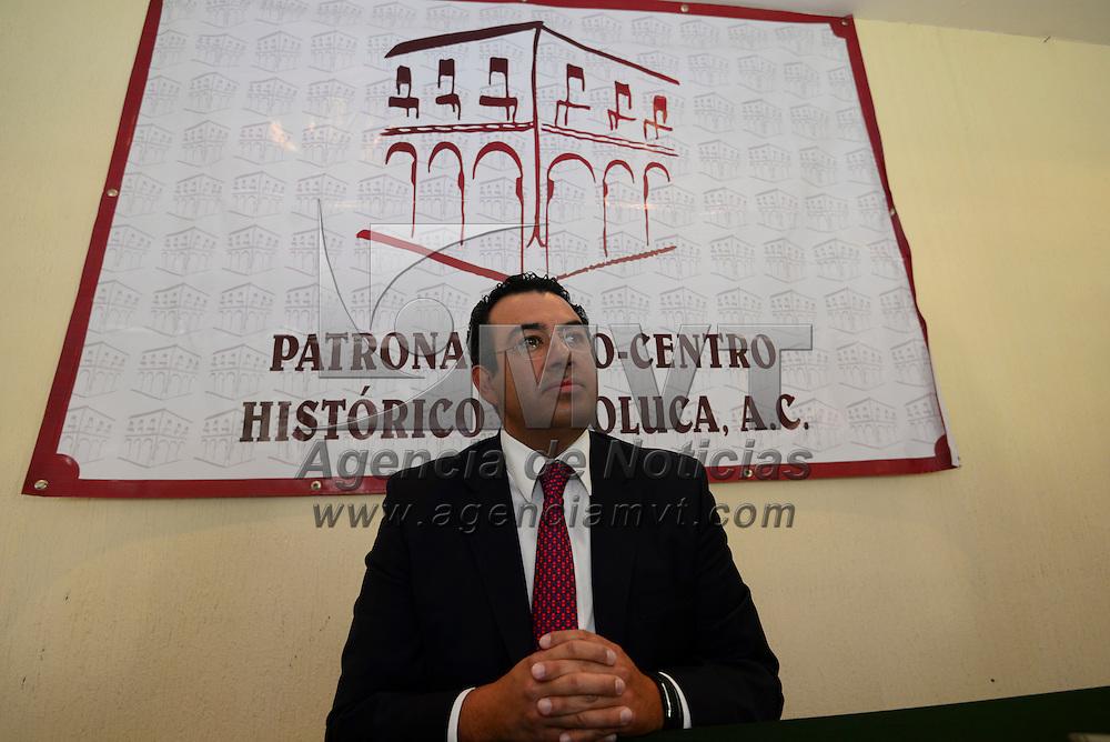 Toluca, México (Abril 26, 2016).- David Tapia, fue presentado como el nuevo presidente del Patronato Pro Centro Histórico.  Agencia MVT / Crisanta Espinosa.