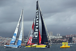 November 3, 2017 - Lisbon, Portugal - Team Brunel captained by Dutch Bouwe Bekking (R ), Dongfeng Race team captained by French Charles Caudrelier (C ) and Turn the Tide on Plastic team captained by Britain Dee Caffari in action during the Volvo Ocean Race 2017-2018 In-port Race at the Tagus River in Lisbon, Portugal on November 3, 2017. (Credit Image: © Pedro Fiuza/NurPhoto via ZUMA Press)