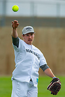KELOWNA, CANADA - JUNE 28: NHL Montreal Canadiens player Brendan Gallagher warms up prior to the opening charity game of the Home Base Slo-Pitch Tournament fundraiser for the Kelowna General Hospital Foundation JoeAnna's House on June 28, 2019 at Elk's Stadium in Kelowna, British Columbia, Canada.  (Photo by Marissa Baecker/Shoot the Breeze)