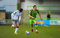Kane Wilson of Forest Green Rovers get past Josh Doherty of Colchester United- Mandatory by-line: Nizaam Jones/JMP - 27/02/2021 - FOOTBALL - The innocent New Lawn Stadium - Nailsworth, England - Forest Green Rovers v Colchester United - Sky Bet League Two