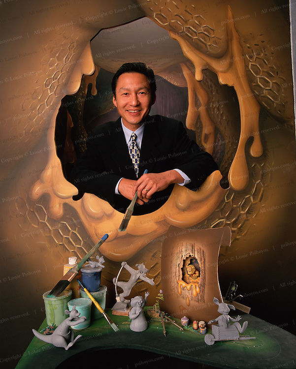 Kenneth P. Wong, President of Walt Disney Imagineering at during the creation of the Winnie the Pooh ride in Disneyland, California.