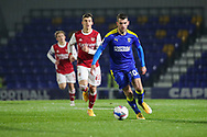 AFC Wimbledon attacker Adam Roscrow (10) dribbling during the EFL Trophy match between AFC Wimbledon and U21 Arsenal at Plough Lane, London, United Kingdom on 8 December 2020.