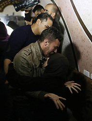 November 19, 2016 - Gaza, gaza strip, Palestine - Relatives of Mohammed Abu Saada, a 26-year-old  Palestinian who was killed on Friday during a rock-throwing protest near the Gaza-Israel border, mourn during his funeral in central Gaza Strip November 19, 2016. (Credit Image: © Majdi Fathi/NurPhoto via ZUMA Press)