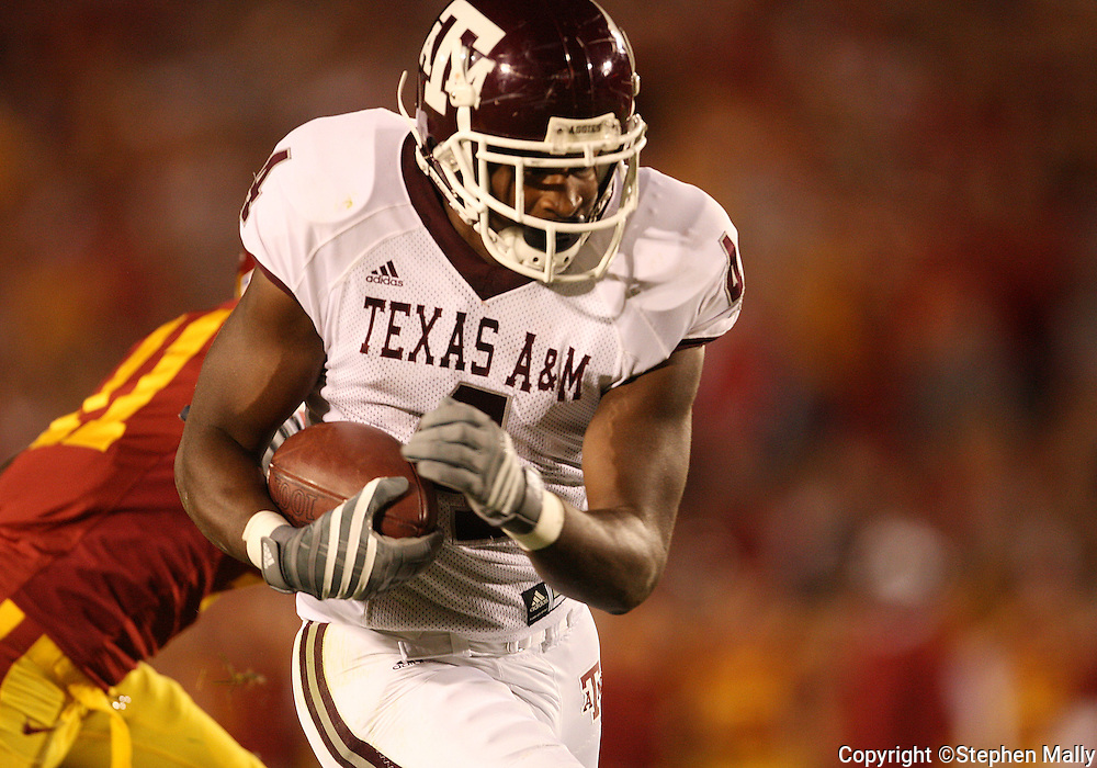 25 OCTOBER 2008: Texas A&M wide receiver Jamie McCoy (4) scores on a 37 yard touchdown pass in the first half of an NCAA college football game between Iowa State and Texas A&M, at Jack Trice Stadium in Ames, Iowa on Saturday Oct. 25, 2008. Texas A&M beat Iowa State 49-35.