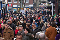 © Licensed to London News Pictures.09/12/2012. Lincoln,UK. On one of the busiest shopping weekends before Christmas, shoppers pack the streets of Lincoln. Pictured, a packed High Street in the centre of Lincoln. Photo credit : Dave Warren/LNP