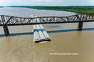 63807-01115 Barge on the Mississippi river crossing under the Thebes bridge Thebes, IL