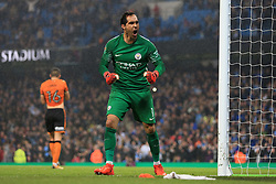 24th October 2017 - Carabao Cup (4th Round) - Manchester City v Wolverhampton Wanderers - Man City goalkeeper Claudio Bravo celebrates after saving a penalty from Conor Coady of Wolves in the shootout - Photo: Simon Stacpoole / Offside.