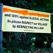 A banner set up along London Road by Balcombe Parish Council in anticipation of the 'Reclaim the Power' camp. The camp is set up in a field in solidarity with the local movement already in swing to stop the gas fracking company Cuadrilla from operating.