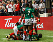 VANCOUVER, BC - MARCH 11: Kenya team celebrates Oscar Ouma (#3)'s try to win the Game # 40- United States vs Kenya Cup SF 2 match at the Canada Sevens held March 10-11, 2018 in BC Place Stadium in Vancouver, BC. (Photo by Allan Hamilton/Icon Sportswire)
