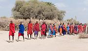 Maasai people outside their village in Amboseli, Kenya