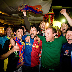 20090527: Football - Soccer - Fans of FC Barcelona celebrating after final Champions League match