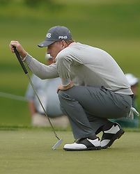 May 24, 2019 - Benton Harbor, NY, U.S. - ROCHESTER, NY - MAY 24:  Thomas Levet measures his putt during the second round of the KitchenAid Senior PGA Championship at Oak Hill Country Club on May 24, 2019 in Rochester, New York. (Photo by Jerome Davis/Icon Sportswire) (Credit Image: © Jerome Davis/Icon SMI via ZUMA Press)