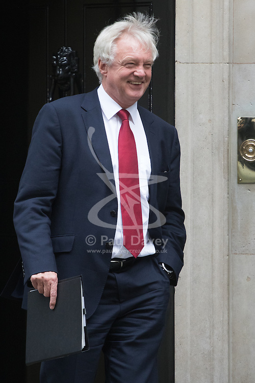Downing Street, London, October 11th 2016. Government ministers leave the first post-conference cabinet meeting. PICTURED: Secretary of State for Exiting the European Union David Davis