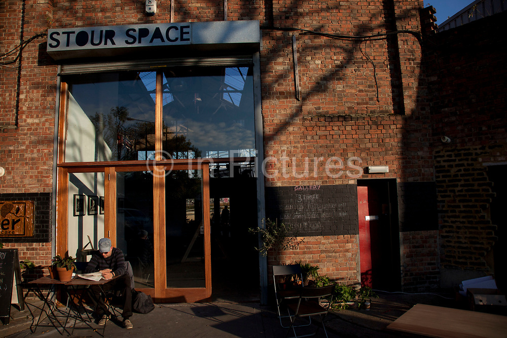 The Counter Cafe at the Stour Space in Hackney Wick. This space provides one of the best views of the Olympic Stadium and is one of the East End of London's most artistic areas with studios mingling with warehouse spaces.