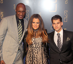 (L-R) Lamar Odom, Khloe Kardashian and Rob Kardashian arriving for the Grand Opening of Scott Disick's RYU restaurant in The Meatpacking District in New York City, NY, USA on April 23, 2012. Scott Disick has teamed up with nightlight impresario Chris Reda to introduce the Meatpacking District's hottest new restaurant, RYU that will offer Japanese-inspired cuisine and world class cocktails in a chic dining space. Photo by Charles Guerin/ABACAPRESS.COM  | 317673_011