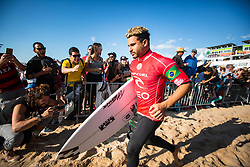 October 20, 2018 - Peniche, Portugal - The Brazilian surfer Italo Ferreira on his way to his heat with Gabriel Medina in the semi-final. (Credit Image: © Henrique Casinhas/NurPhoto via ZUMA Press)