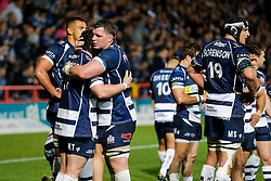 Bristol Rugby Number 8 James Phillips hugs replacement Kyle Traynor after winning the Championship Final and promotion to the Aviva Premiership - Mandatory byline: Rogan Thomson/JMP - 25/05/2016 - RUGBY UNION - Ashton Gate Stadium - Bristol, England - Bristol Rugby v Doncaster Knights - Greene King IPA Championship Play Off FINAL 2nd Leg.