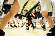 Rutland assistant coach TJ Sabotka's son Brayden dance in the middle of the huddle during the Vermont state division I boys basketball championship game between the Mount Mansfield Cougars and the Rutland Raiders at Patrick Gym on Saturday afternoon March 17, 2018 in Burlington. (BRIAN JENKINS/for the FREE PRESS)