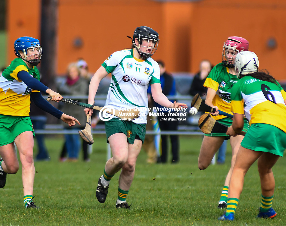 Sinead Hackett (Meath) is surounded by Ofaly players in the National Camogie League Div 1 game, Meath v Offal in Dunganny, Trim, County Meath.<br /> <br /> 19-03-2017