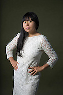 Chinese-born writer Xiaolu Guo, pictured at the Edinburgh International Book Festival where she talked about her new book entitled 'I am China'. The three-week event is the world's biggest literary festival and is held during the annual Edinburgh Festival. The 2014 event featured talks and presentations by more than 500 authors from around the world and was the 31st edition of the festival.